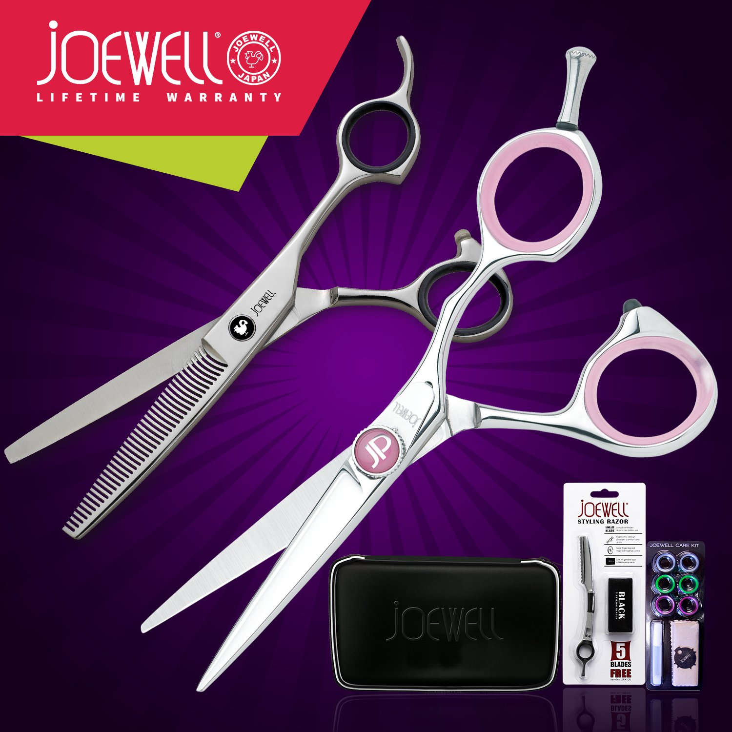 Joewell JP 5.5 Shears / Scissors + Free Thinner & More scissors 6 inch professional hair cutting scissors hairdressing salon barber shears dragon shaped handle