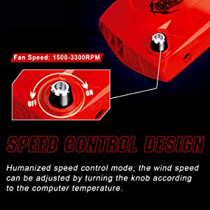 Pccooler Laptop Vacuum Cooler, Laptop Cooling Fan with Color Changing Breathing Light, Wind Speed Rotate Button Control, Rapid Cooling for 12-17 Inch Laptop, Compatible with Laptop Cooling Pads (Color: Red, Tamaño: Small)