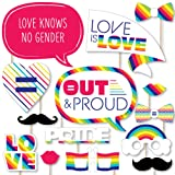 Big Dot of Happiness Love is Love - Gay Pride - LGBTQ Rainbow Party Photo Booth Props Kit - 20 Count (Color: Multicolored)