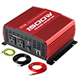 POTEK 1500W Power Inverter DC 12V to AC 110V Car Converter with Dual AC Outlets and Dual USB Ports (Color: Red, Tamaño: 1500W)