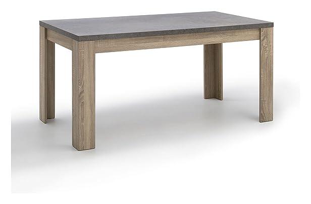 Tavolo da soggiorno rovere SNM con piano finitura marmo cm 160x80x74,5 collezione giorno Meteor
