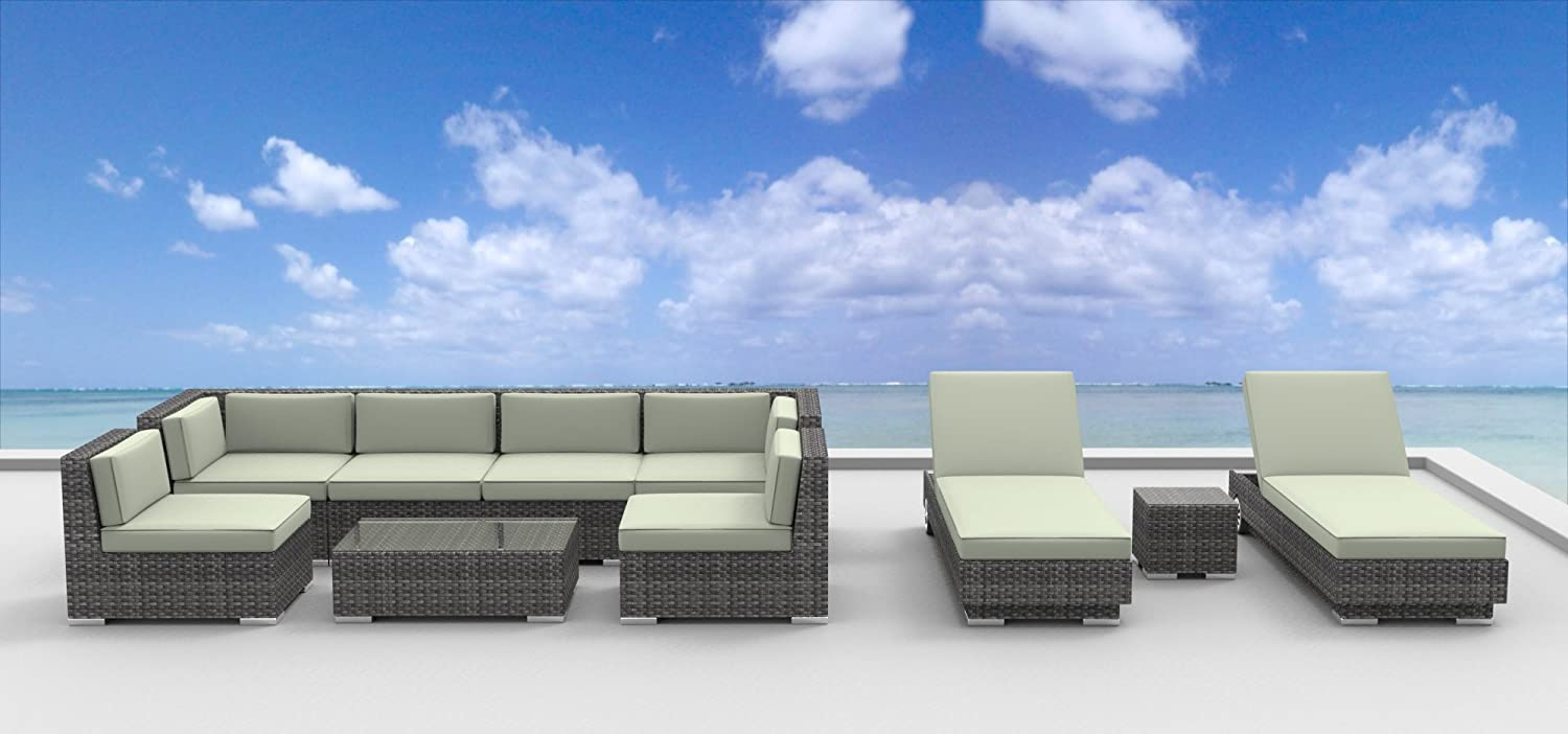 www.urbanfurnishing.net Urban Furnishing - IBIZA 10pc Modern Outdoor Backyard Wicker Rattan Patio Furniture Sofa Sectional Couch Set - Beige at Sears.com