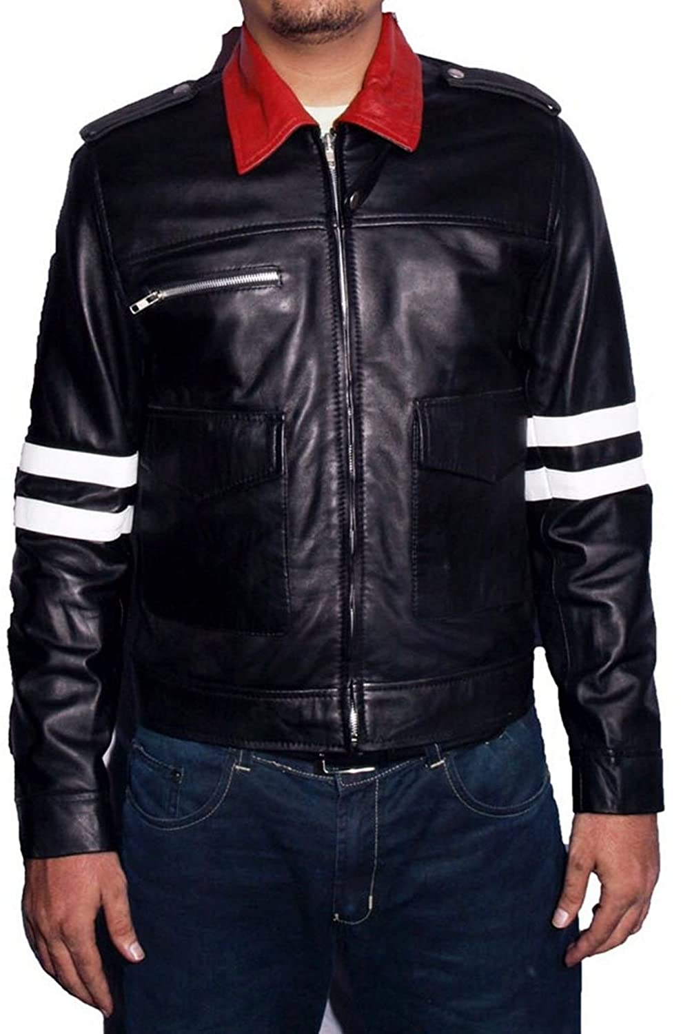Men's Prototype Without Dragon Sheep Black Leather Jacket