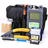 FTTH Fiber Cold Connection Tool Kit 19 in 1 with FC-6S Fiber Cleaver 10mW Visual Fault Locator Optical Power Meter Cable Tester Stripping Tool Cotton Swab (Color: Black, Tamaño: Large)