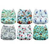 Mama Koala One Size Baby Washable Reusable Pocket Cloth Diapers, 6 Pack with 6 One Size Microfiber Inserts (Pirates On The Go) (Color: Pirates On The Go, Tamaño: One Size)