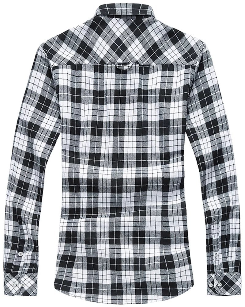 WELITY Men's Long Sleeves Retro Vintage Checker Plaids Dress Shirt 1