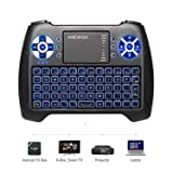 (2018 Latest, Backlit) ANEWISH 2.4GHz Mini Wireless Keyboard with Touchpad Mouse Combo, Rechargable Li-ion Battery & Multi-Media Handheld Remote for Google Android TV Box,PS3,PC,PAD (Color: T16-blue backlit, Tamaño: Keyboard)