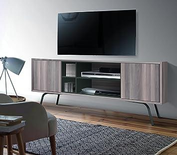 Meuble TV avec 4 niches coloris Noyer / gris - Dim : L 150 x H 35 x P 60 cm -PEGANE-