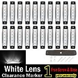 (Pack of 20) LEDVillage 20 Pcs 3.8 6 LED White Side Marker Lights, Trailer Marker Lights, Rear Side Marker Lamp, Led Marker Lights for Trucks, Cab Ma
