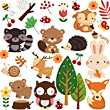 DEKOSH Kids Wild Safari Animal Wall Stickers for Nursery Decoration | Jungle Theme Peel & Stick Owl Woodland Nursery Wall Decals for Baby Playroom Decor (Color: Woodland)