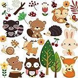 DEKOSH Kids Wild Safari Animal Wall Stickers for Nursery Decoration | Jungle Theme Peel & Stick Owl Woodland Nursery Wall Decals for Baby Playroom Decor (Color: Woodland)