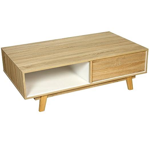 PAME 40749 - Mesa centro, madera de roble, 120 x 70 x 40 cm, color blanco