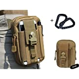 LefRight Nylon Tough Duty Military Tactical Molle EDC Compatible Universal Security Pack Casual Waist Bag, Coyote Tan with 2 Black Carabiner
