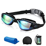 Swimming Set, Triathlon Swim Goggles + Universal Waterproof Case + Silicone Solid Swim Cap + Cooling Towel, Swimming Set for Adult Men Women Youth Kids Child IPX8 Waterproof UV 400 Protection Lenses (Color: Black Pack)