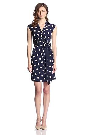 Eliza J Women's Cap Sleeve Polka Dot Wrap Dress, Navy, 6