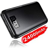Portable Charger Power Bank 24000mAh - High Capacity with LCD Digital Display,3 USB Output & Dual Input External Battery Pack Compatible with Smart Phones,Android Phone,Tablet and More (Color: Black, Tamaño: 16.7 x 8.2x 2.2 cm)
