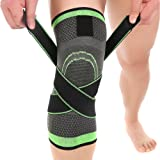 Ueasy 1 Pair Fitness Knee Brace Breathable Knee Support Sleeve for Sports, Joint Pain Relief, Arthritis and Injury Recovery (M, Grey+Green) (Color: Grey+green, Tamaño: M(Leg Circumference 35-40cm/13.8''-157''))