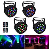 Stage Lights, LaluceNatz 18x3W RGB LED Par Lights for Wedding Church Stage Lighting by Power Linking, IR Remote DMX and Sound Activated (4pcs) (Color: 18LEDs RGBW x 4)