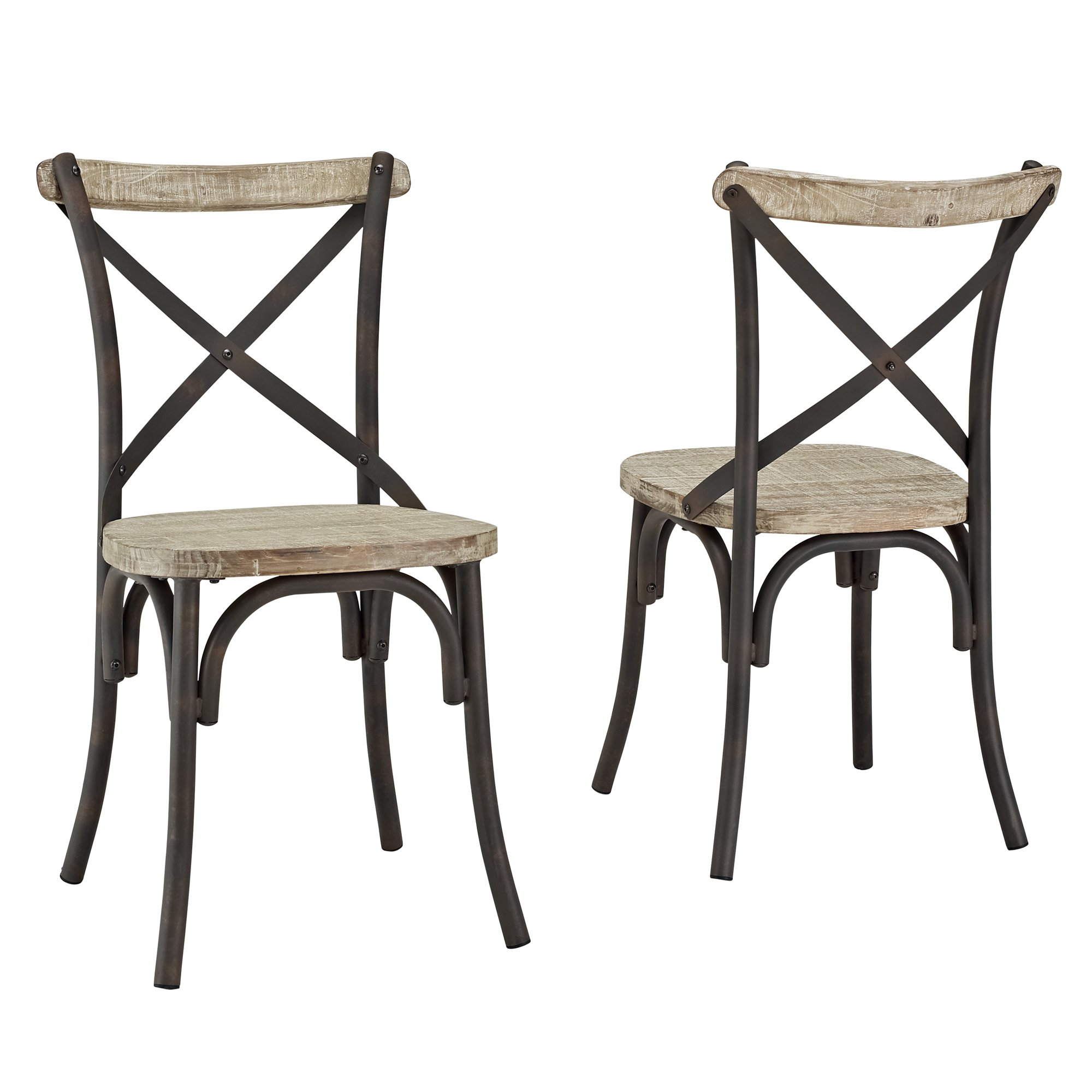 Industrial Reclaimed Solid Wood Dining Chairs Set of 2  sc 1 st  FurnitureNDecor.com & Industrial Reclaimed Solid Wood Dining Chairs Set of 2 ...