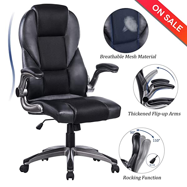 Big & Tall Black Leather Executive Office Chair Extra Wide