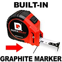 25' Foot QUICKDRAW PRO Self Marking Tape Measure - 1st Measuring Tape with a Built in Pencil - Contractor Grade Steel Tape - 25 Foot Power Locking Tape Ruler via Amazon