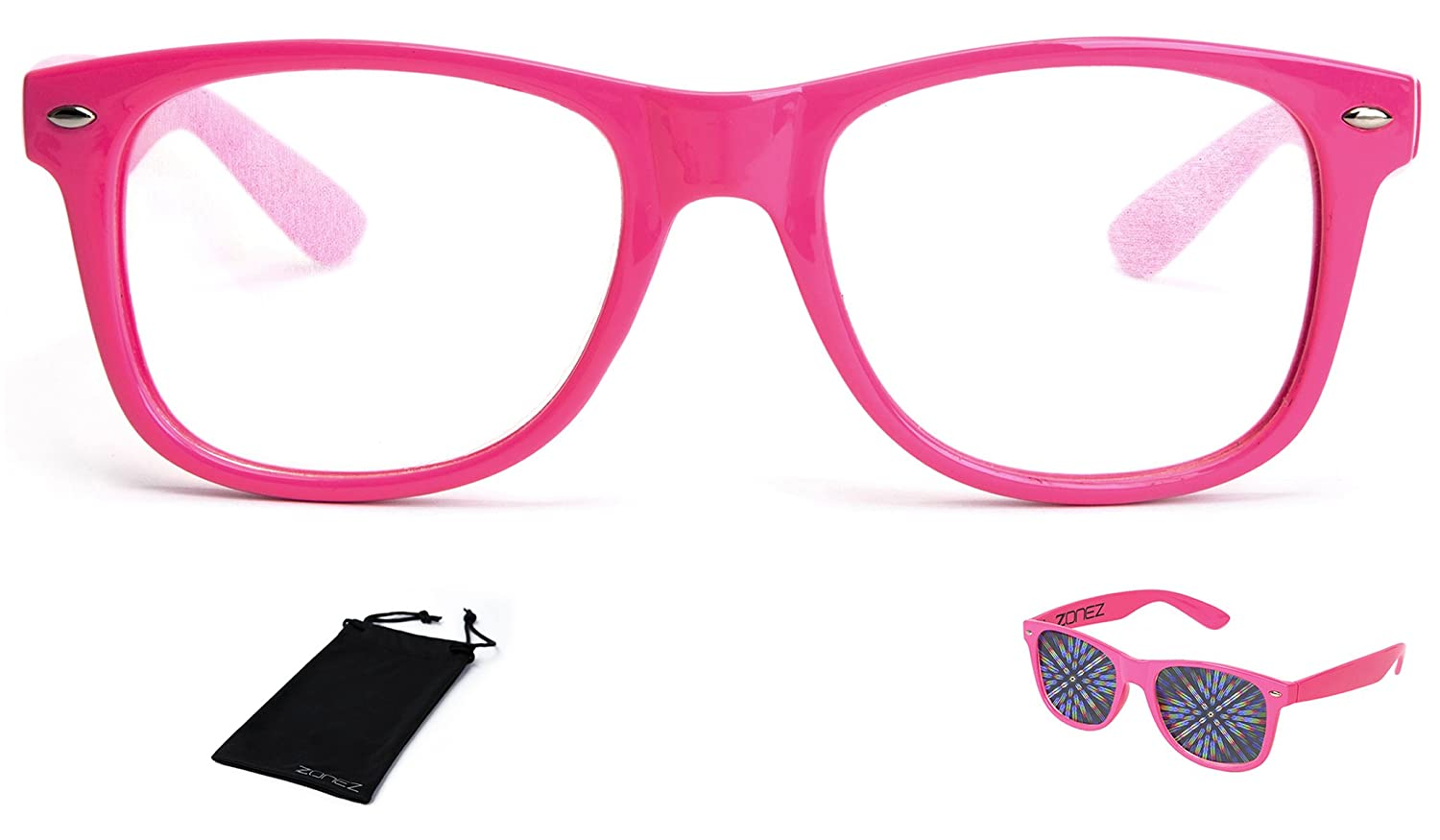 Zonez Premium Diffraction Glasses - Neon Color Options, High Quality Clear Lens with Glowing Holographic Rainbow Prism Effects - Rave Accessories, Light Shows, Party Favors