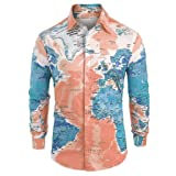 Letdown_Men tops Men Button Down Shirts Long Sleeve Graphic World Map Print Slim Fit Shirt Top Blouse Dark Blue (Color: Dark Blue, Tamaño: 3X-Large)