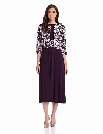 Jessica Howard Women's 2 Piece Ruched Waist Jacket Dress, Eggplant, 8