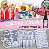 Jewelry Making Kits - DIY Crystal Glue Jewelry Mold 83 Pcs Set Handmade Crystal Glue Mold Set - DIY Key Chain, Earrings, Necklaces, Pendant, Bracelets and More (White) (Color: White, Tamaño: as shown)