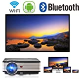 Android Projector WiFi Bluetooth Support Full HD 1080P 3500 Lumens Home Theater Projector HDMI TV AV USB Audio Port for iPhone Smartphone Video Projector for Indoor Outdoor Basement Backyard (Color: 3500Lumens WIFI Bluetooth Theater Projector)