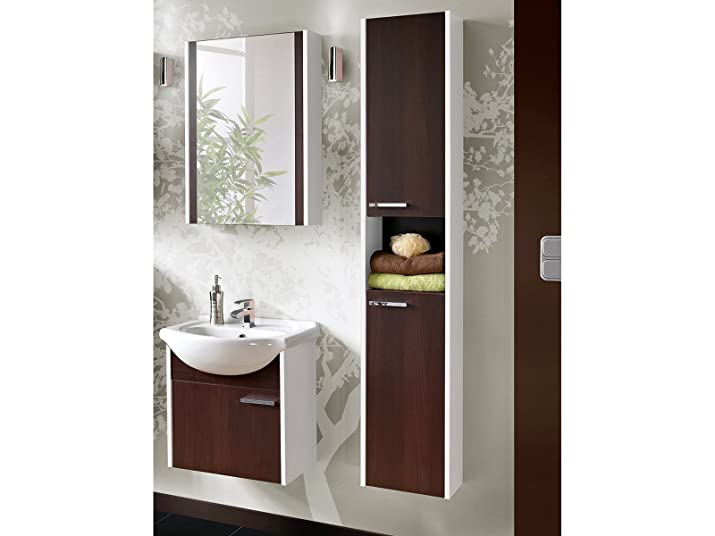 Mobili per stanza da bagno York Bianco / wengé con lavandino - Marrone, Waschtisch, Spiegel & Hochschrank