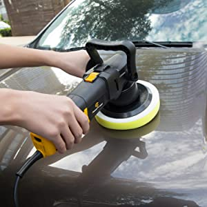 Polisher, 6 Inch Dual Action Car Polisher with Variable Speed, Detachable Handles, 3 Foam Pads for Car Sanding, Polishing, Waxing, Sealing Glaze, C P CHANTPOWER (Color: Black&Yellow)