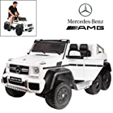 Licensed Mercedes Benz AMG G63 6x6 Electric Ride On Car for Kids with 2.4G Remote Control, 12V 6 Motors, Parent Seat, Openable Doors, Leather Seat, USB MP3 Player, LED Bottom and Wheel Light -White (Color: White)