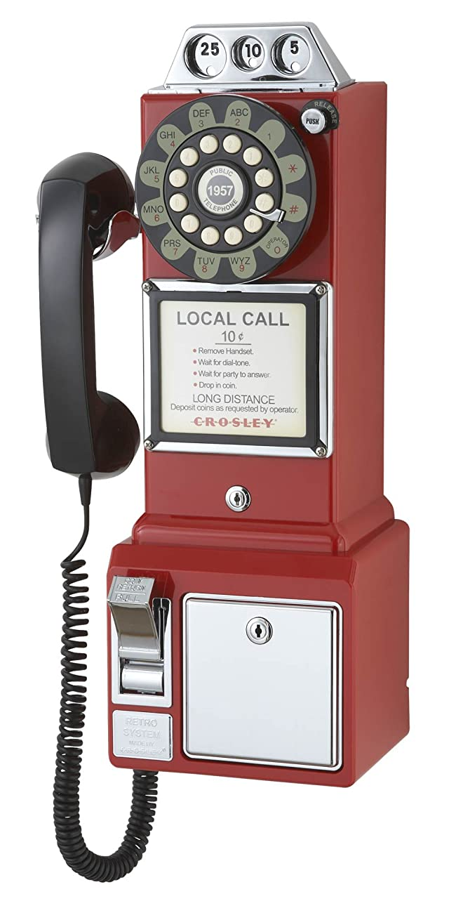 Crosley CR56-RE 1950's Payphone with Push Button Technology, Red 0