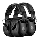 Mpow Ear Protection 2 Packs, NRR 28dB Professional Ear Defenders with a Carrying Bag, Foldable Noise Reduction Safety Ear Muffs for Hearing Protection, Shooting, Mowing, Construction, Woodworking (Color: Black)
