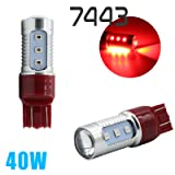 3157/7443/1157 Red Stop Brake 2835 Flash Strobe Rear Alert Safety 12-LED Light Bulbs (7443, Red)