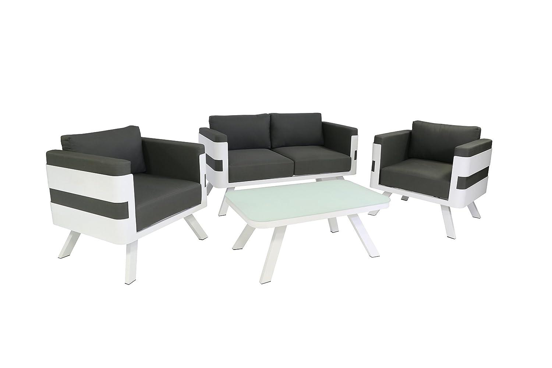 greemotion 123530 Lounge Set St. Tropez, 4-teilig, 157 x 79 x 70 cm, grau / weiß