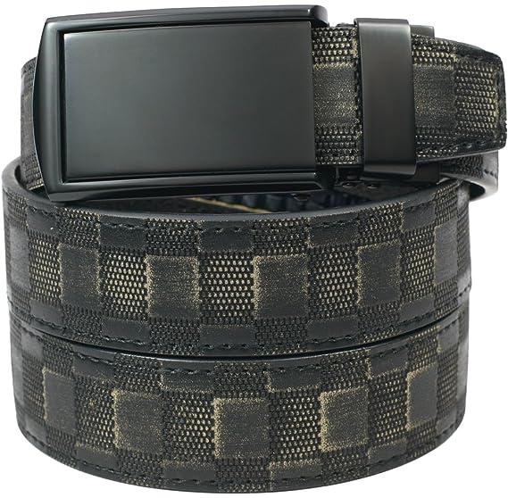 SlideBelts Men's Matte Black Leather Belt - Custom Fit (Checkered Leather with Matte Black Buckle)