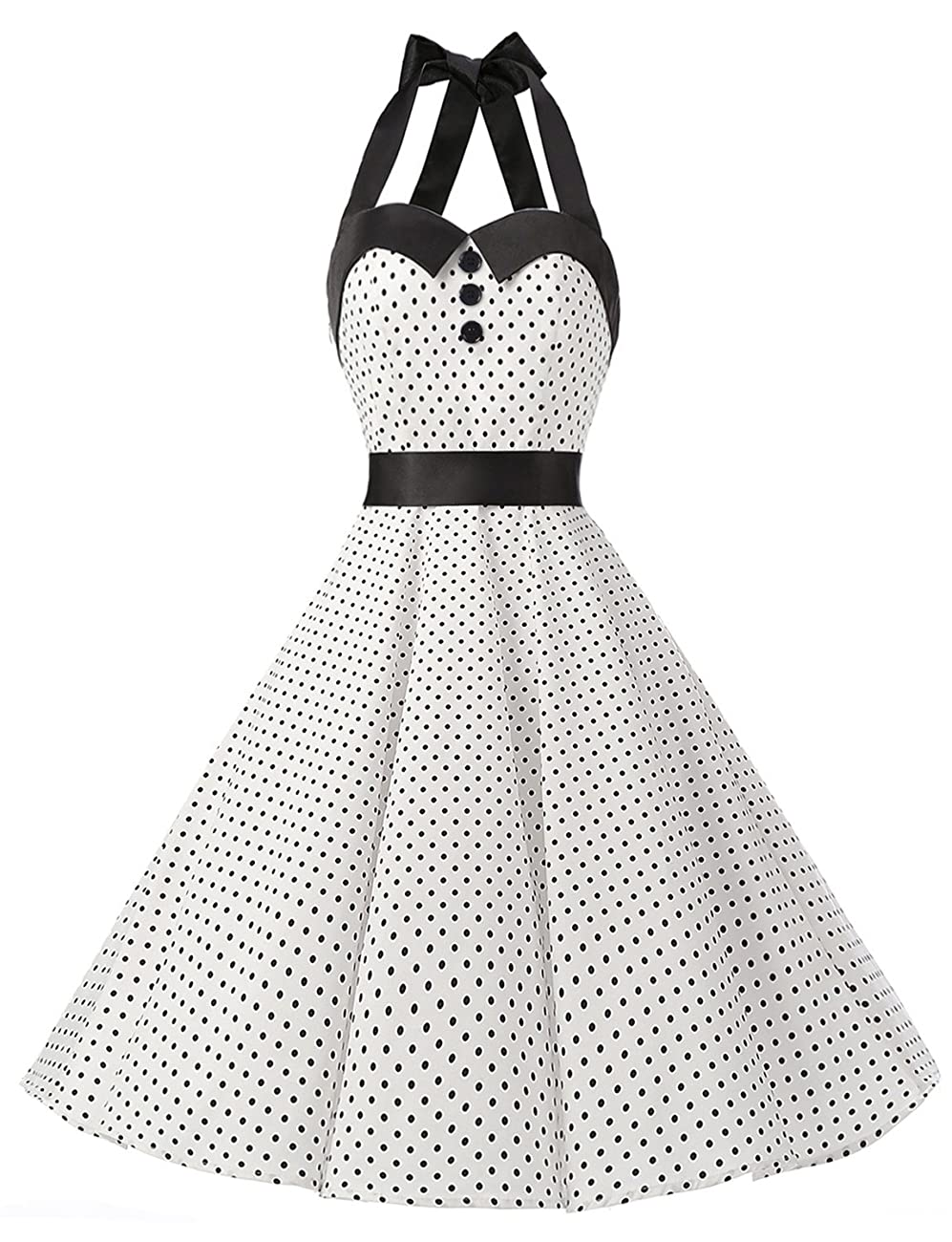 Dressystar Vintage Polka Dot Retro Cocktail Prom Dresses 50's 60's Rockabilly Bandage 0