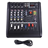 AW 4 Channel Professional Powered Mixer with USB Slot Power Mixing 110V (Tamaño: 4 channel)