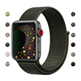 Lozer Compatible with Apple Watch Band 38mm 42mm, Soft Nylon Sport Loop, with Hook and Loop Fastener, Adjustable Closure Wrist Strap, Replacement Band Compatible with iwatch (Color: A - Cargo Khaki, Tamaño: Watch 42MM)