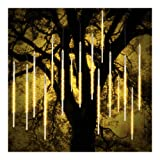 ohCome [New Version Meteor Shower Rain Drop Lights 50cm 10 Spiral Tubes 540 LEDs Waterproof Icicle Snowfall String Lights for Wedding Christmas Xmas Halloween Garden Tree Home Decor (WarmWhite) (Color: WarmWhite-(Not Support Hook))