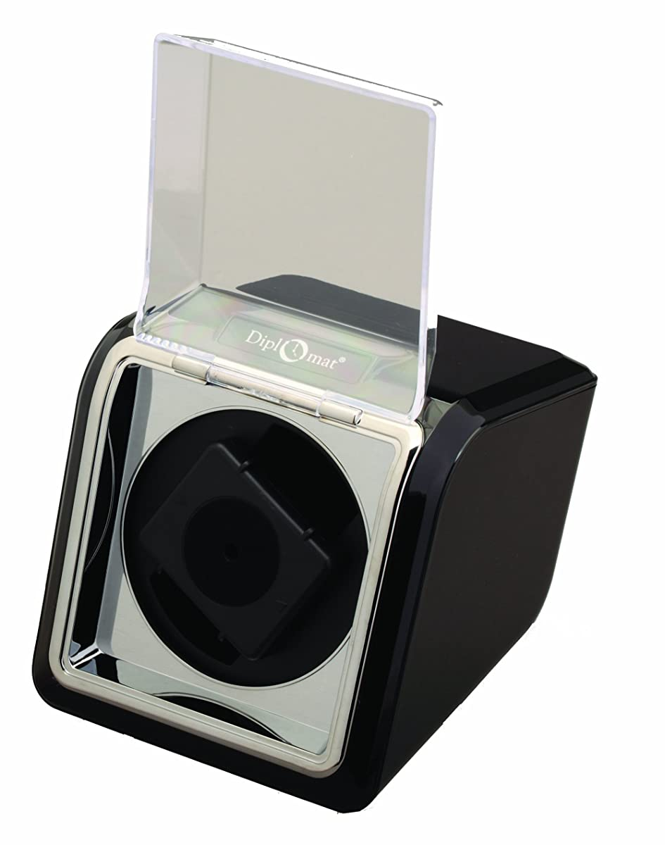 Diplomat Single Watch Winder in Black with Clear Viewing Window