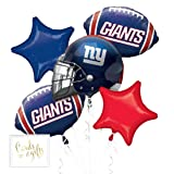 Andaz Press Balloon Bouquet Party Kit with Gold Cards & Gifts Sign, Giants Football Themed Foil Mylar Balloon Decorations, 1-Set (Color: Sports Giants)