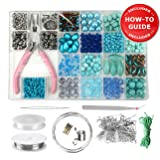 Modda Jewelry Making Supplies Kit - DIY Beading Kits for Teen Girls, Beginners, Mom, Teens Arts and Crafts - Includes All Tools, Beads, Charms and Instructions to Make Bracelets, Necklaces, Earrings (Color: Turquoise)