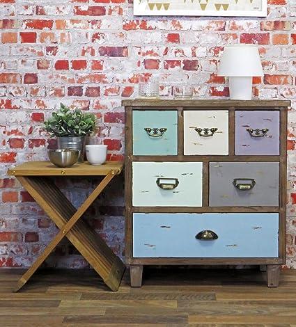 Retro Kommode mehrfarbig, mit 6 Schubladen, 60 x 68 cm