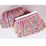 Heartwish268 Fringe Trim Lace Nylon Fabric Tassel 4inch Wide 10 Yards Long for Clothes Accessories Latin Wedding Dress DIY Lamp Shade Decoration Rainbow Neon Mix Colors (Color: Rainbow)