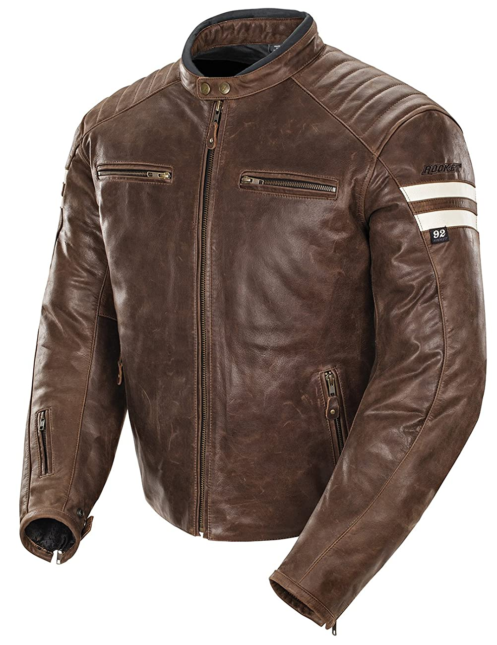 Joe Rocket Classic '92 Men's Leather Motorcycle Jacket (Brown/Cream, Medium) 0