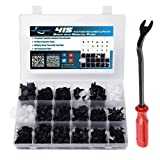 MICTUNING 18 Most Popular Sizes 415 Pcs Plastic Car Push Retainer Clips Kit with Fastener Remover Auto Trim Assortment Set For GM Ford Toyota Honda Chrysler (Color: 415 PCS Push Retainer Kit - Black)