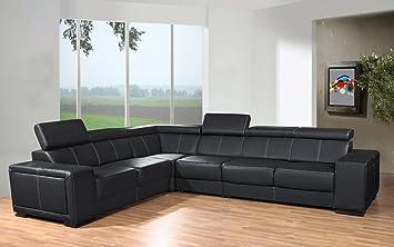 Canapé d'angle 6 places CAARIA noir simili cuir moderne avec têtières réglables